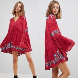 Free People Red Te Amo Embroidered Tunic Dress